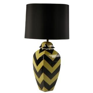 Ceramic Hand-painted Black/ Yellow Chevron Table Lamp (Set of 2)