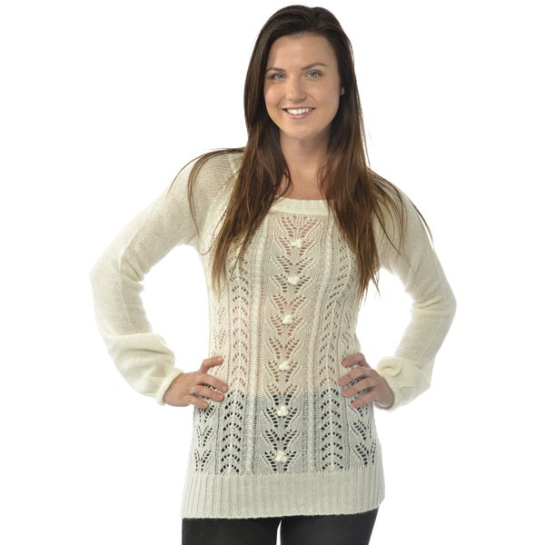 Leisureland Women's Open Knit Scoop Neck Sweater