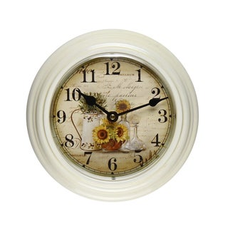 Adeco White Vintage-inspired Round Wall Clock
