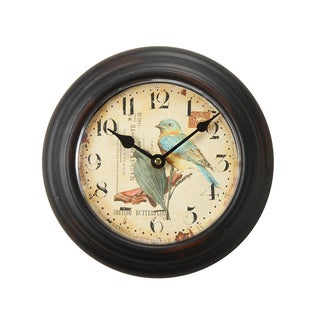 Adeco Brown Vintage-inspired Round Wall Clock
