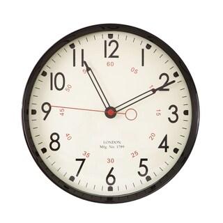 Adeco Black Round School Wall Clock