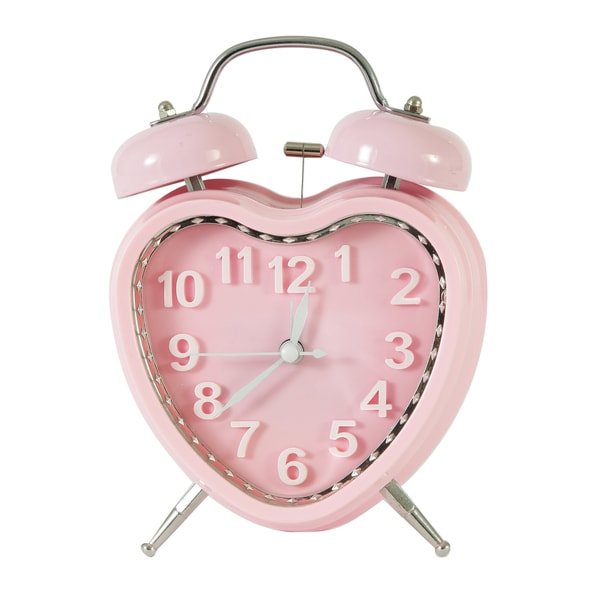 Adeco Pink Sweet Heart Vintage-inspired Table Top Alarm Clock