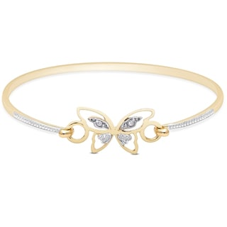 Finesque Gold Over Sterling Silver Diamond Accent Butterfly Bangle (I-J, I2-I3)