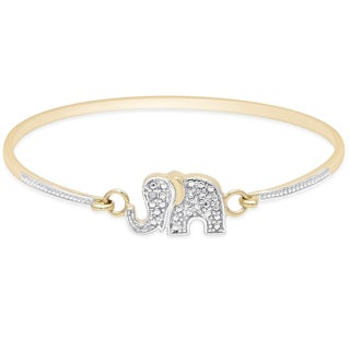 Finesque Gold Over Sterling Silver Diamond Accent Elephant Bangle (I-J, I2-I3)