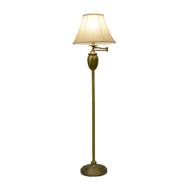 Antique Brass Swing-arm Floor Lamp with Faux Silk Shade