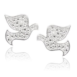 Journee Collection Sterling Silver Diamond Accent Dove Earrings