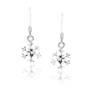 Journee Collection Sterling Silver Snowflake Dangle Earrings