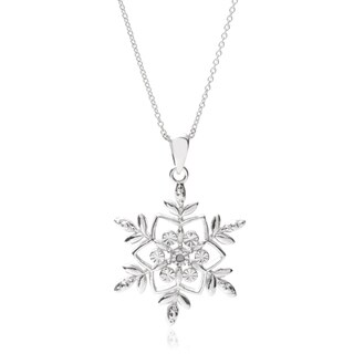 Tressa Collection Sterling Silver Cubic Zirconia Snowflake Pendant