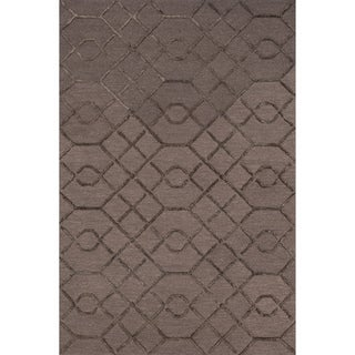 Hand-hooked Carolyn Raisin/ Coffee Lattice Rug (5'0 x 7'6)