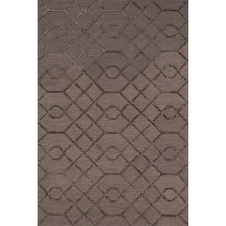 Hand-hooked Carolyn Raisin/ Coffee Lattice Rug (7'6 x 9'6)
