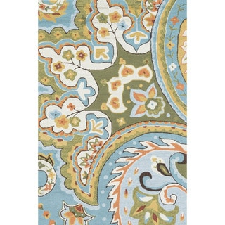 Hand-hooked Charlotte Blue/ Green Paisley Rug (3'6 x 5'6)