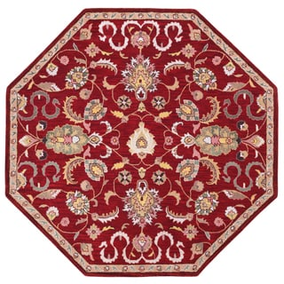 Hand Tufted Salvador Red Wool Octagon Rug (6'x6')