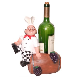 Chef with Barrel Sculpted Wine Bottle Holder