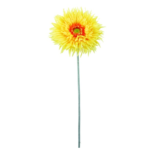 Yellow 40-inch Gerbera Daisy Decorative Flower (Set of 12)