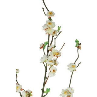 White 30-inch Peach Blossom Spray Decorative Flower (Set of 12)