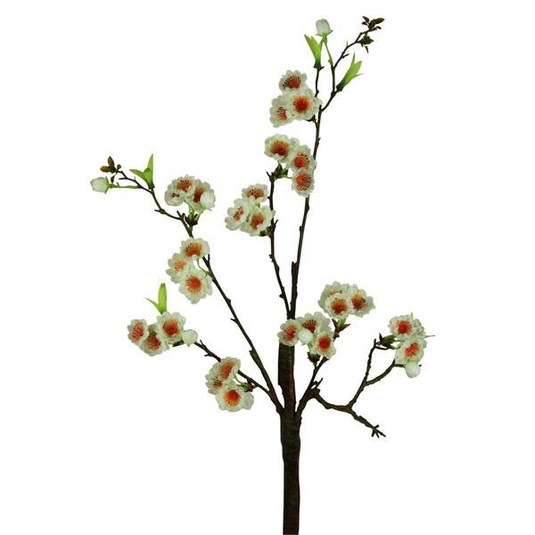 White 30-inch Cherry Blosson Decorative Flower (Set of 6)