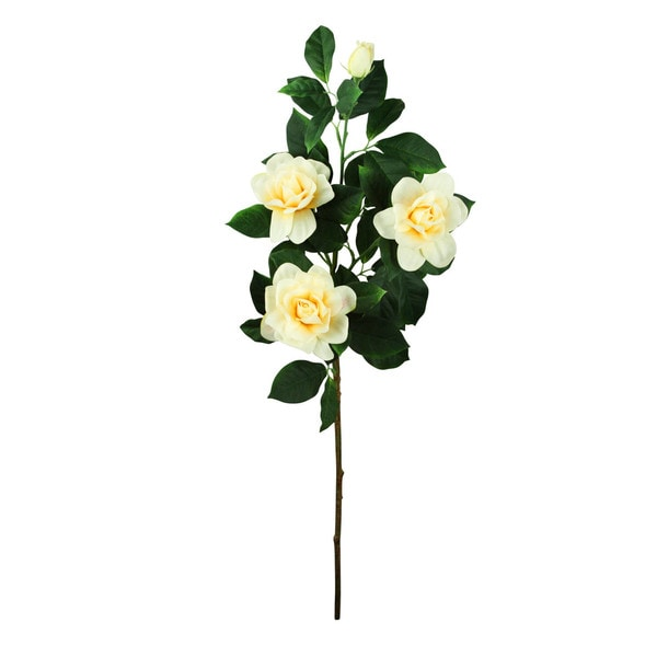 Yellow 33-inch Camellia Spray Decorative Flower (Set of 12)