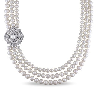Miadora Sterling Silver White Cultured Freshwater Pearl and Cubic Zirconia 3-strand Necklace (7-9.5 mm)