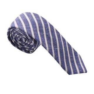 Skinny Tie Madness Men's Blue Striped Chambray Skinny Tie