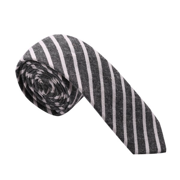 Skinny Tie Madness Men's Grey Striped Chambray Skinny Tie
