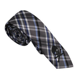 Skinny Tie Madness Men's Grey Plaid Skinny Tie with Skull Applique