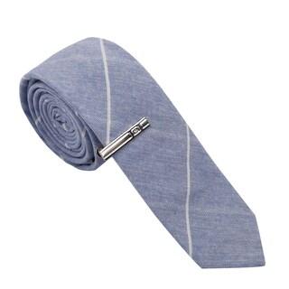 Skinny Tie Madness Men's Blue Striped Cotton Skinny Tie with Clip