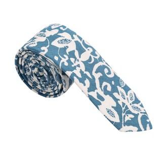Skinny Tie Madness Men's Cotton Floral Print Skinny Tie