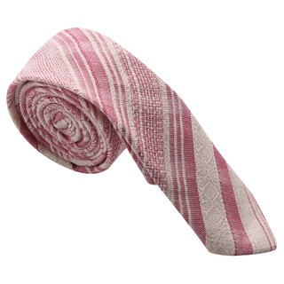 Skinny Tie Madness Men's Pink Striped Cotton Skinny Tie
