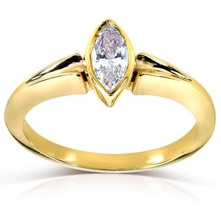 Annello 14k Yellow Gold 3/4ct TDW AGA-certified Marquise Diamond Solitaire Ring (FG, SI1)