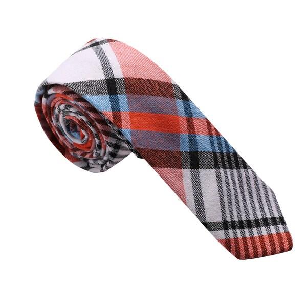 Skinny Tie Madness Men's Orange and Blue Plaid Cotton Skinny Tie
