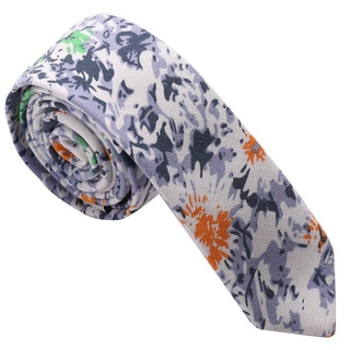 Skinny Tie Madness Men's Blue and Yellow Floral Cotton Skinny Tie