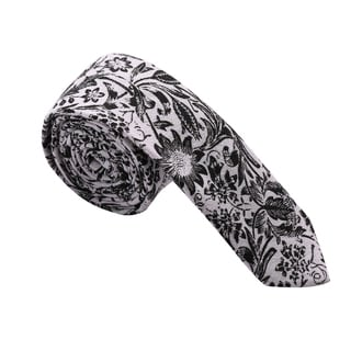 Skinny Tie Madness Men's Black Filigree and Floral Skinny Tie