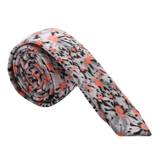 Skinny Tie Madness Men's Black and Salmon Floral Skinny Tie