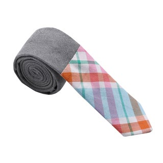Skinny Tie Madness Men's Plaid and Solid Colorblocked Skinny Tie