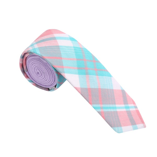 Skinny Tie Madness Men's Light Blue Plaid Skinny Tie with Solid Backing