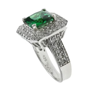 Michael Valitutti Created Emerald and Cubic Zirconia Ring
