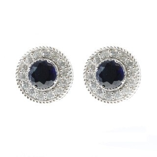 Valitutti Signity Created Blue Sapphire Stud Earrings