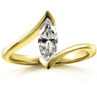 Annello 14k Yellow Gold 1 1/6ct TDW AGA-certified Marquise Diamond Solitaire Engagement Ring (G, I1)
