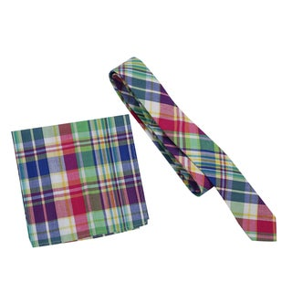 Skinny Tie Madness Men's Multicolored Plaid Skinny Tie with Matching Pocket Square