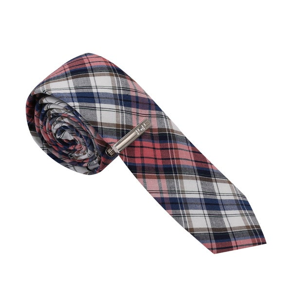 Skinny Tie Madness Men's Red and Navy Plaid Skinny Tie with Tie Clip