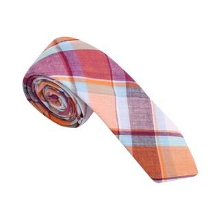 Skinny Tie Madness Men's Cotton Plaid Skinny Tie