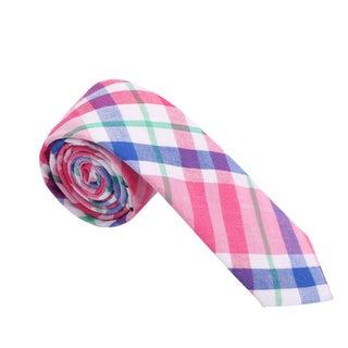 Skinny Tie Madness Men's Pink and Blue Plaid Skinny Tie