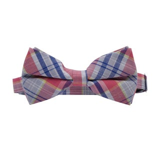 Skinny Tie Madness Men's Pink and Blue Plaid Pre-tied Bow Tie
