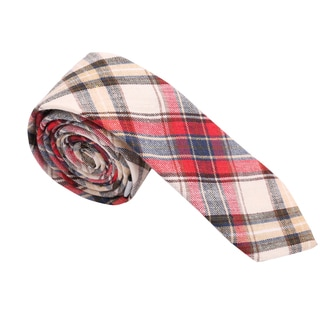 Skinny Tie Madness Men's Red and Beige Cotton Plaid Skinny Tie