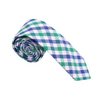 Skinny Tie Madness Men's Blue and Green Gingham Plaid Skinny Tie
