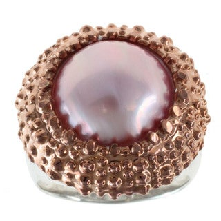 Michael Valitutti Sterling Silver Mabe Pearl Ring (13-14 mm)