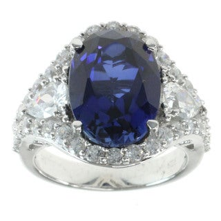 Michael Valitutti Sterling Silver Created Blue Sapphire Cubic Zirconia Ring