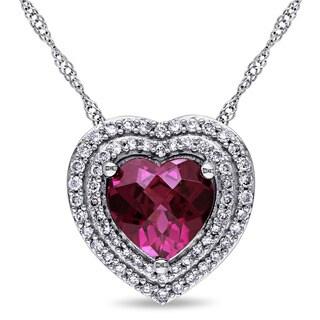 Miadora Signature Collection 14k White Gold Rhodolite 1/4ct TDW Diamond Double Halo Heart Necklace (G-H, SI1-SI2)