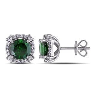 Miadora Signature Collection 14k White Gold Chrome Diopside, White Sapphire 1/6ct TDW Diamond Earrings (G-H, SI1-SI2)