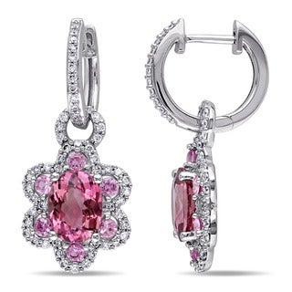 Miadora Signature Collection 14k White Gold Pink Tourmaline, Pink Sapphire and 1/2ct TDW Diamond Earrings (G-H, SI1-SI2)
